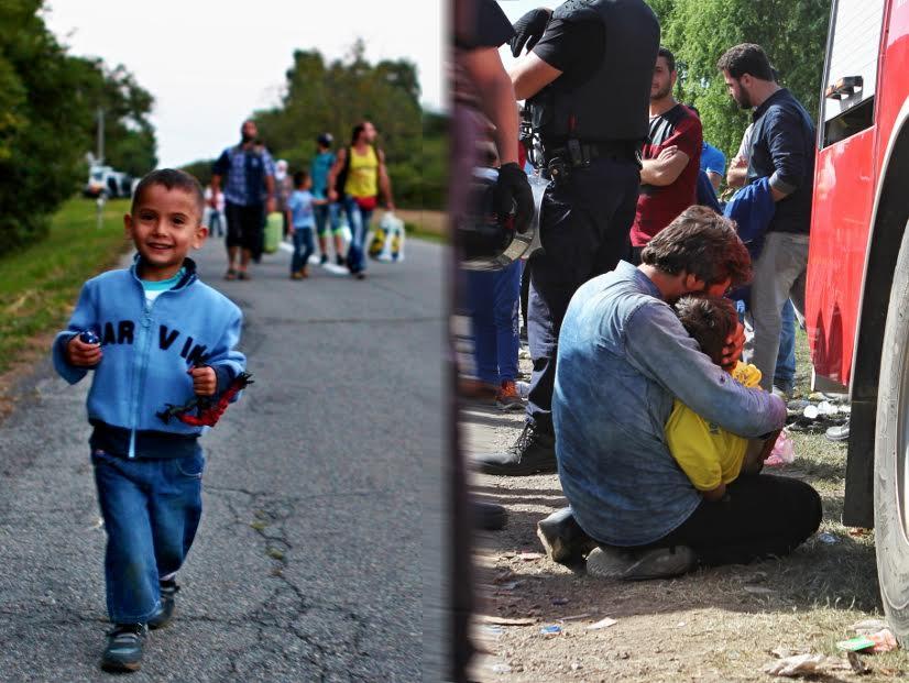 PEREMENT - KROATIEN - 18.09.2015 - VERSCHIEDENES - Mehrere hundert Fluechtlinge wurden am Freitagabend mit Bussen von Kroatien nach Ungarn gebracht. Die ungarische Polizei hatte in Aussicht gestellt, dass sie weiter nach Oesterreich gefahren werden. Bild zeigt: Ein Junge laeuft im Bildvordergrund auf die Kamera zu, hinter ihm unscharf seine Familie. Keywords: Busse;Fluechtlinge;Fluechtlingskrise;Grenze;Kroatien;Oesterreich;Polizei;Tovarnik;Ungarn;weggefahren;Kind;Familie;Laecheln